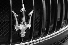 Maserati sign on exhibition at the annual event Supercar Sunday. LOS ANGELES, CALIFORNIA - USA - JUNE 8, 2014: Maserati sign on exhibition at the annual event Stock Image