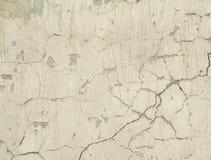Masern Sie alte Betonmauer mit Überresten des Gipses mit Sprüngen Stockfotos