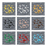 Masern Sie für platformers Pixel-Kunstvektor: entsteinen Sie Erzmineralblöcke: Silber, Gold, Kohle, Edelstein, Eisen Stockbilder