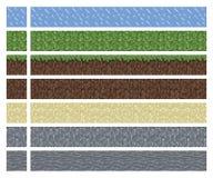 Masern Sie für platformers Pixel-Kunstvektor - Schlammgras-Stein-Grundfliese lizenzfreie abbildung