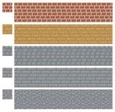 Masern Sie für platformers Pixel-Kunstvektor - Ziegelstein-, Stein- und Holzwand Stockfoto