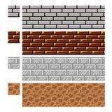 Masern Sie für platformers Pixel-Kunstvektor - Ziegelsteinstein und Stahlwand stock abbildung