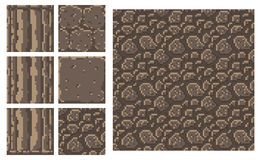 Masern Sie für platformers Pixel-Kunstvektor - Ziegelsteinsteinwand-Spaltenblock vektor abbildung
