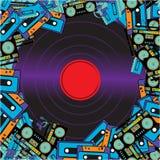 Masern Sie Rahmen von den Retro- MusikerTonbandgerätaudiokassetten und Vinylaufzeichnungen von den sechziger Jahren 70s 80s 90s A vektor abbildung
