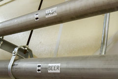 Mash and beer pipes in bourbon distillery Royalty Free Stock Images