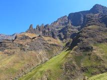Mashai Fangs Peaks, uKhahlamba Drakensberg National Park. Mashai Fangs Peaks on hiking path to Rhino Peak at Garden Castle Nature Reserve of uKhahlamba Royalty Free Stock Image