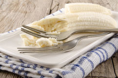 Mashed banana on a plate Stock Photography