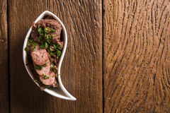 Mashed beans with sausage called Tutu de Feijao in Brazil. Royalty Free Stock Images