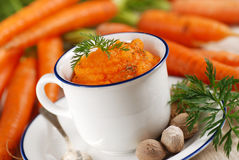 Mashed carrots in the bowl Royalty Free Stock Photography