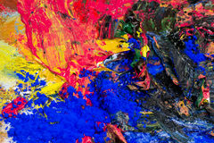 Mashed colorful oil paint with powder pigments Stock Photos