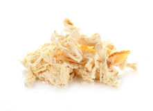 Mashed dried squid isolated on white background Royalty Free Stock Images