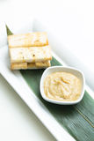 Mashed garlic sauce with bread croutons Stock Photos