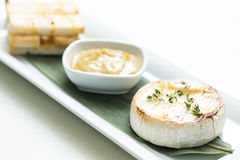 Mashed garlic sauce with bread croutons and roasted Camembert ch Stock Images