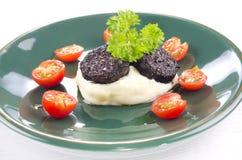 Mashed potato and black pudding Royalty Free Stock Image