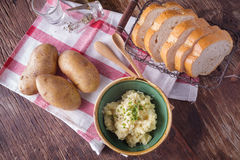 Mashed potato with bread Stock Image