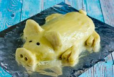 Mashed potato casserole shaped funny pig like a real. Festive dinner dish for Christmas, new year or easter stock photo