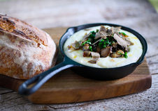 Mashed potato and cheese fondue with black truffle and wild mushrooms Royalty Free Stock Image