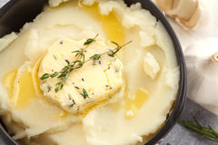 Mashed potato compound butter herb baguette thyme rosemary coriander oregano Stock Image