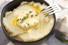 Mashed potato compound butter herb baguette thyme rosemary coriander oregano Stock Photos