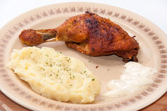 Mashed potato and fried chicken drumsticks Royalty Free Stock Photos