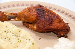 Mashed potato and fried chicken drumsticks Stock Photos