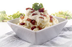 Mashed potato with grilled bacon Royalty Free Stock Image