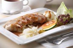 Mashed potato with sausage Stock Photography