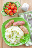 Mashed potato with sausages Royalty Free Stock Images