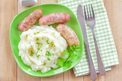 Mashed potato with sausages Royalty Free Stock Image