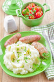 Mashed potato with sausages Stock Image