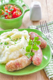 Mashed potato with sausages Royalty Free Stock Photography