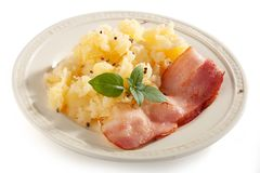 Mashed potatoes with bacon royalty free stock image
