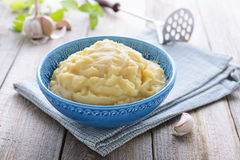 Mashed potatoes in blue bowl Stock Image