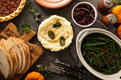 Mashed potatoes with butter and sage. Side dish for Thanksgiving or Christmas dinner overhead shot royalty free stock photo