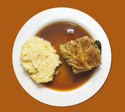 Mashed potatoes with cabbage rolls and sauce Royalty Free Stock Photography