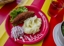 Mashed potatoes with cutlet. Beautiful potato, cutlet and radish dish on a red plate and a yellow-red cloth Stock Images
