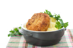 Mashed potatoes with fried cutlet Royalty Free Stock Photos