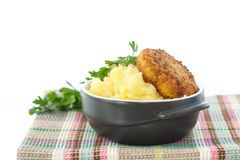 Mashed potatoes with fried cutlet Stock Images