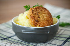 Mashed potatoes with fried cutlet Stock Photos