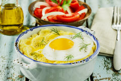 Mashed potatoes with fried egg Stock Photography