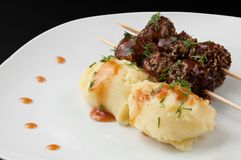 Mashed potatoes and meat balls Royalty Free Stock Photo