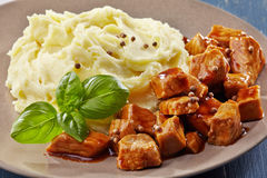 Mashed potatoes and meat stew Royalty Free Stock Photography