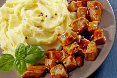 Mashed potatoes and meat stew Royalty Free Stock Photos
