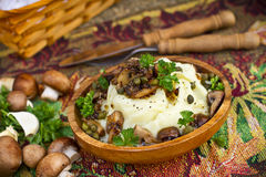 Mashed potatoes with mushrooms Royalty Free Stock Image