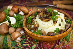 Mashed potatoes with mushrooms Royalty Free Stock Images