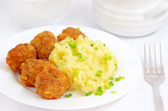 Mashed potatoes with noisettes Stock Photos