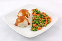 Mashed potatoes with peas Royalty Free Stock Photo