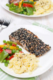 Mashed potatoes, pink salmon with sesame and vegetables Stock Photography