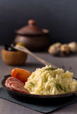 Mashed potatoes on plate Royalty Free Stock Image