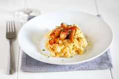 Mashed potatoes of rutabagas, sweet potato and caramelized pears Royalty Free Stock Images